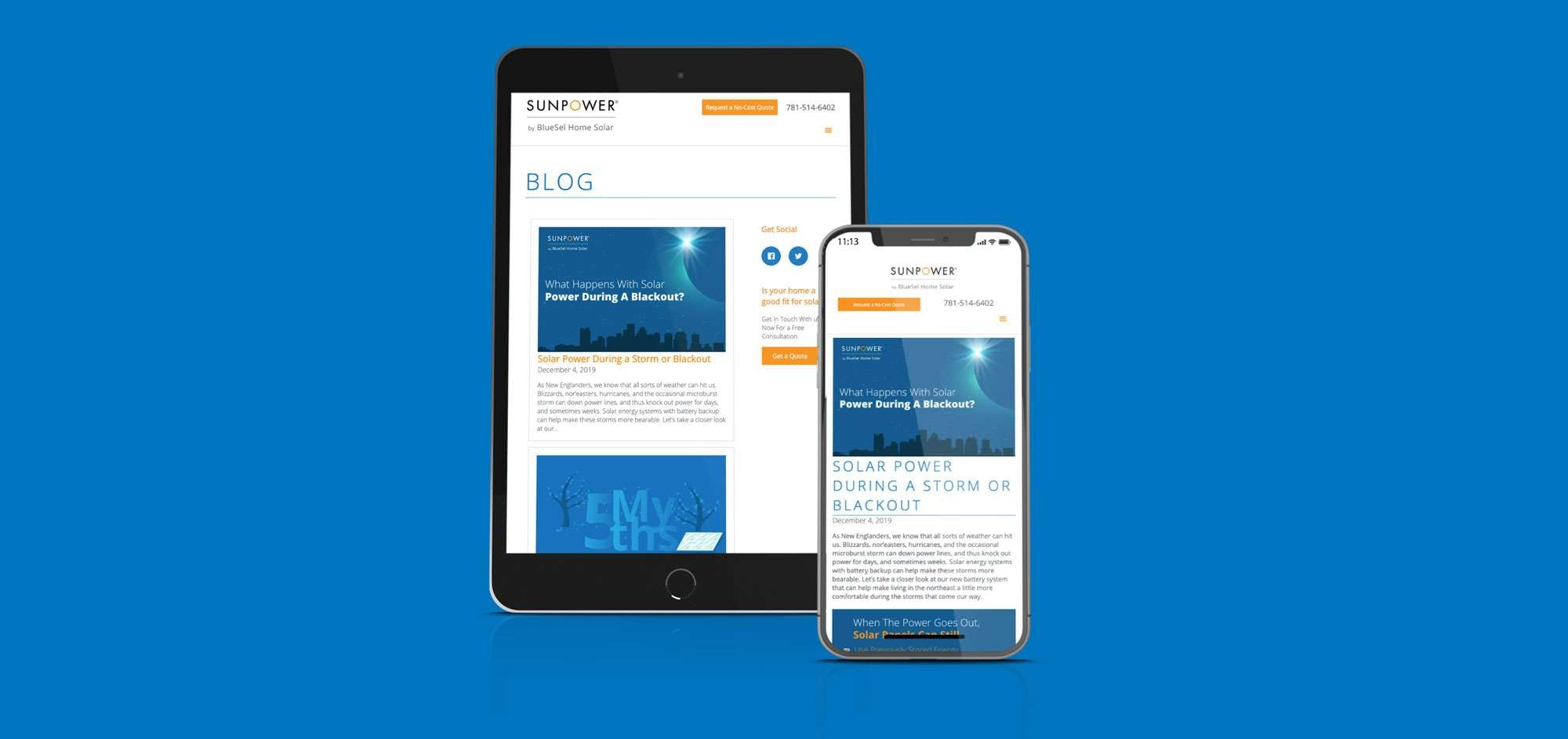 bluesel blog mockup