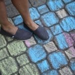 TOMS shoes on chalk