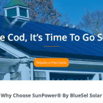 The Cape Cod landing page for SunPower by BlueSel.