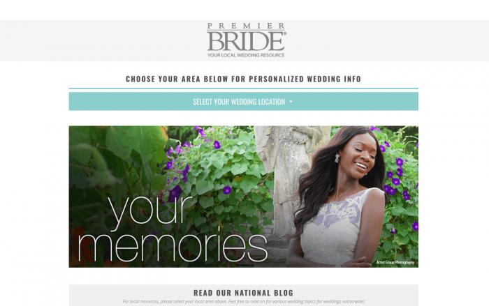 The homepage on Premier Bride's last website.