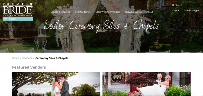 The wedding ceremonies and chapel page of Premier Bride.