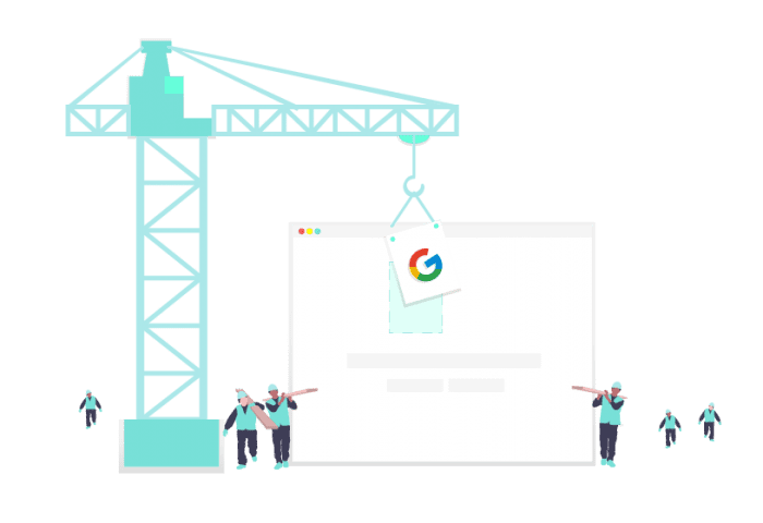 A graphic of a crane carrying the logo for Google.