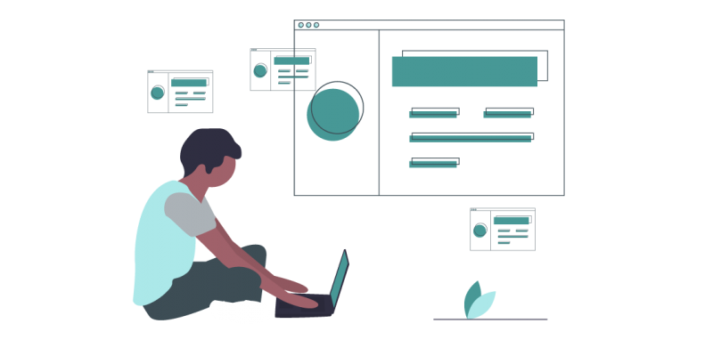 A graphic of a man sitting down with his laptop.