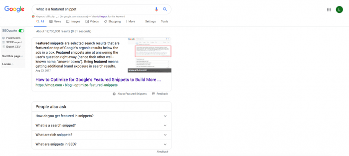 A screenshot of the Google search for 'what is a featured snippet.'