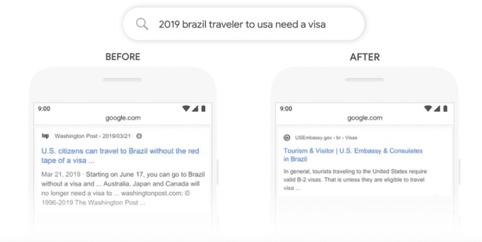A screenshot of Google explaining its new search algorithm, BERT. The search is '2019 brazil travelers to usa need a village.'