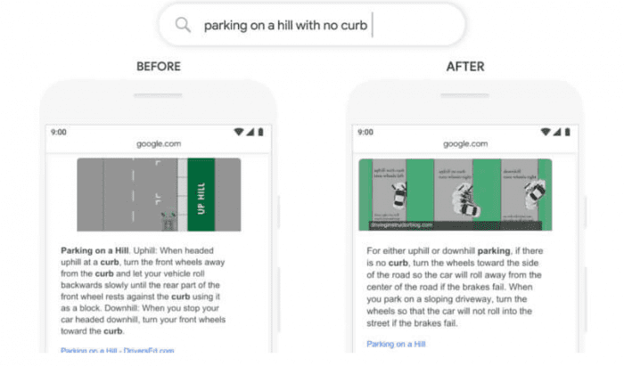 A screenshot of Google explaining BERT. In this screenshot the search query is 'parking on a hill with no curb.'