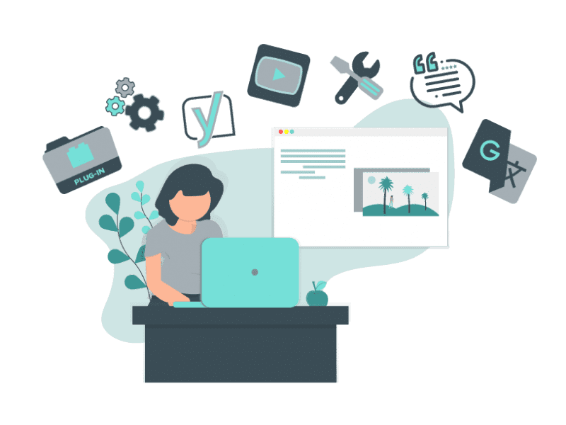 A graphic of a woman sitting at a desk with a laptop with widgets, tools, plugin icons.