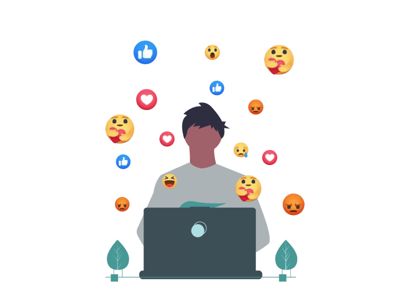 A graphic of a man on his laptop with the different Facebook emojis in the background.